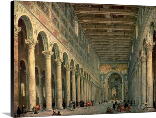 Interior of the Church of San Paolo Fuori le Mura, Rome, 1750 (oil on canvas)