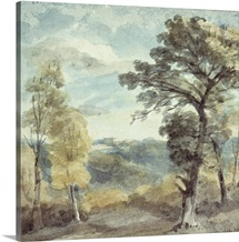 Landscape with Trees and a Distant Mansion (watercolour)