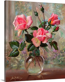 Madame Butterfly Roses in a Glass Vase