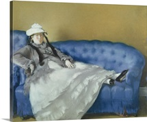 Madame Manet on a Blue Sofa, 1874 (pastel on paper)