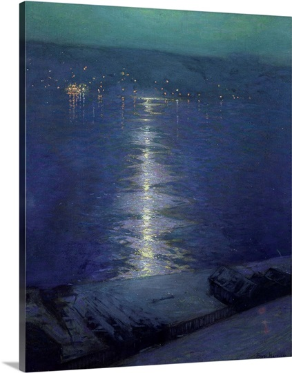 Moonlight on the River, 1919 (oil on canvas)