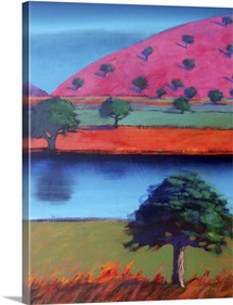 Pink Hill 2 (acrylic on card)