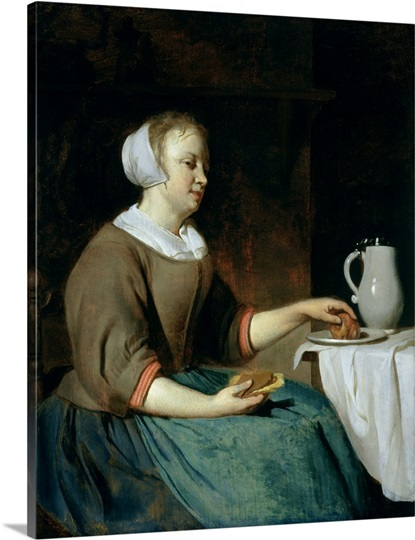 Portrait of a Girl Seated at a Table (oil on panel)