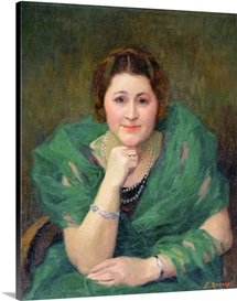 Portrait of a Russian Woman with a Green Scarf (oil on canvas)