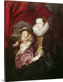 Portrait of a Woman and Child (oil on canvas)