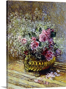 Roses in a Copper Vase, 1878 (oil on canvas)