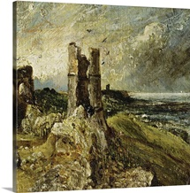 Sketch of Hadleigh Castle (recto) (oil on millboard)
