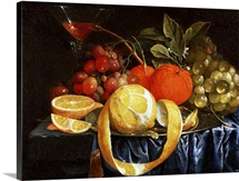 Still Life of Grapes, Oranges and a Peeled Lemon (oil)