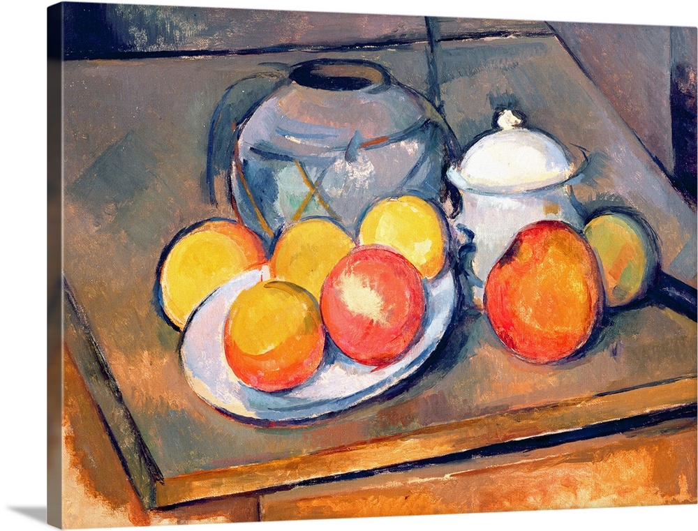 Straw covered vase, sugar bowl and apples, 1890 93 (oil on canvas) (also see 287555)