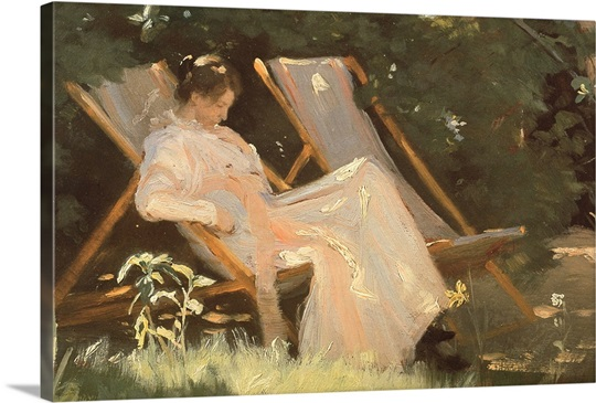 The artist's wife sitting in a garden chair at Skagen, 1893