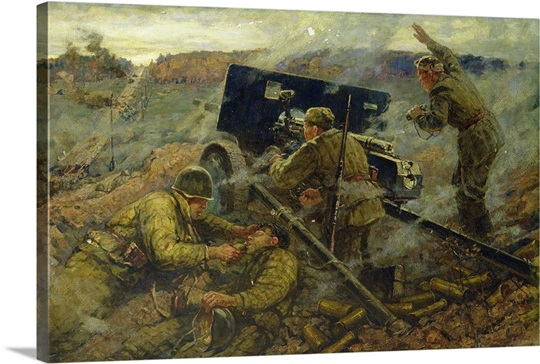 The Battle of Yelnya near Moscow in 1941, 1962 (oil on canvas)