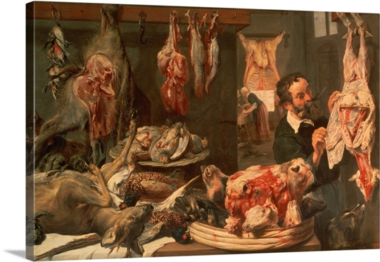 The Butcher's Shop (oil on canvas)