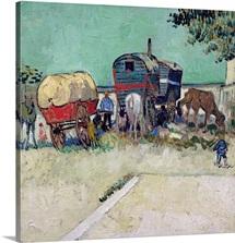 The Caravans, Gypsy Encampment near Arles, 1888 (oil on canvas)
