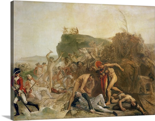 The Death of Captain James Cook, 14th February 1779 (oil on canvas)