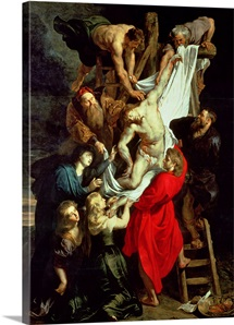 The Descent from the Cross, central panel of the triptych, 1611 14 (oil on panel)