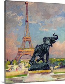 The Eiffel Tower and the Elephant by Fremiet (oil on canvas)
