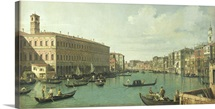 The Grand Canal from the Rialto Bridge (oil on canvas)