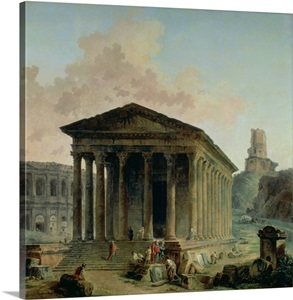 The maison carree with the amphitheatre and the tour magne at nimes photo canvas print great - Tour magne nimes ...
