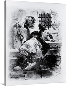 The Man in the Iron Mask in his Prison, illustration for the opera