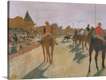 The Parade, or Race Horses in front of the Stands, c.1866 68 (oil on paper)
