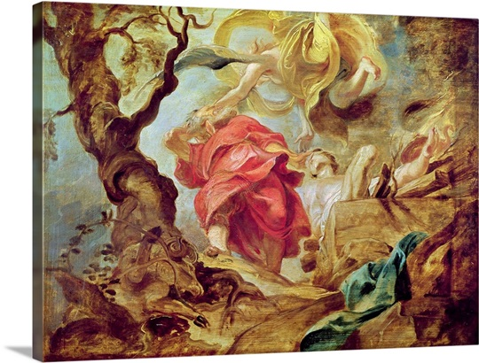 The Sacrifice of Isaac, sketch for section of ceiling in the Jesuit Church, Antwerp, 1620 21 (oil on panel)