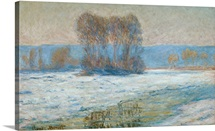 The Seine at Bennecourt, Winter (oil on canvas)