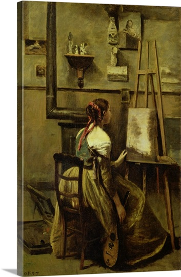 The Studio of Corot, or Young woman seated before an Easel, 1868-70 (oil on canvas)