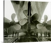 The Titanic's propellers in the Thompson Graving Dock of Harland