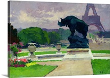 The Trocadero Gardens and the Rhinoceros by Jacquemart (oil on canvas)