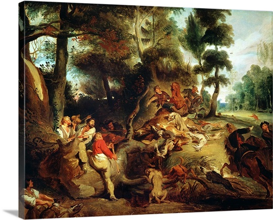 The Wild Boar Hunt, after a painting by Rubens, c.1840 50 (oil on canvas)