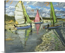 Three Sailboats, Bray Dunes, France (oil on canvas)