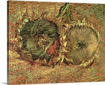 Two Cut Sunflowers, 1887 (oil on canvas)