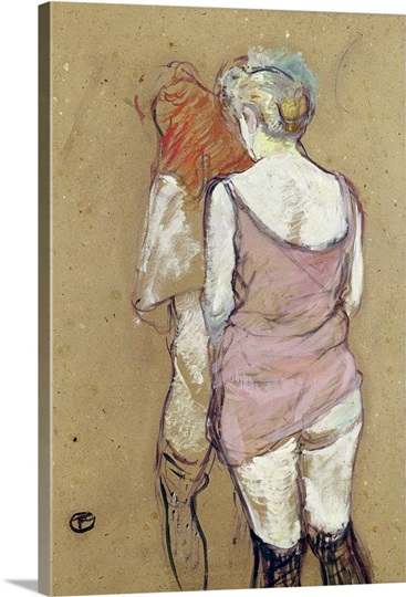 Two Semi Nude Women at the Maison de la Rue des Moulins, 1894 (oil on card)