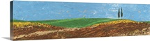 Two Trees, Rolling Hills, Tuscany, 2005 (oil on paper)