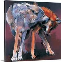 Two Wolves, 2001 (oil on canvas)