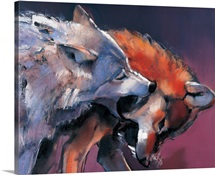 Two Wolves (oil on canvas)