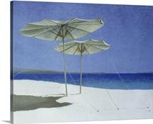Umbrellas, Greece, 1995 (acrylic on paper)