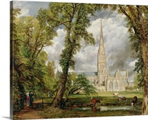 View of Salisbury Cathedral from the Bishop's Grounds, (oil on canvas) c.1822