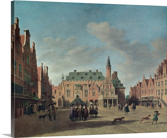 Grote Canvas Strandtas : View of the grote markt in haarlem oil on canvas photo