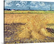Wheatfield with Sheaves, 1888 (oil on canvas)