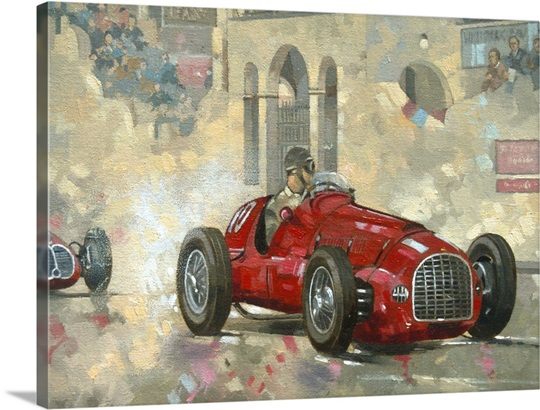 Whitehead&#39;s Ferrari passing the pavillion, Jersey (oil on canvas)