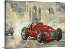 Whitehead's Ferrari passing the pavillion, Jersey (oil on canvas)