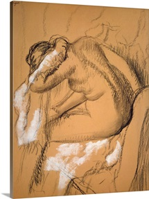 Woman drying herself (charcoal