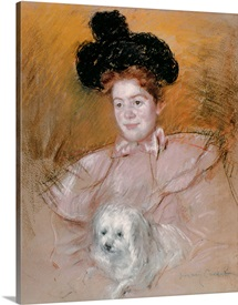 Woman holding a dog (pastel on paper)