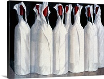 Wrapped Wine Bottles, Number 1, 1995 (acrylic on paper)
