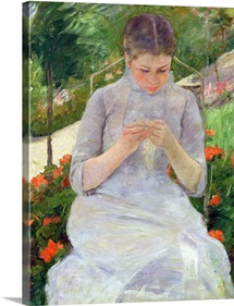 Young Woman Sewing in the garden, c.1880 82 (oil on canvas)
