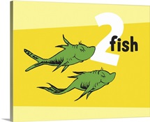 One Fish Two Fish Collection II: Two Fish, yellow - Dr. Seuss Art