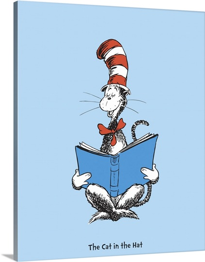 the cat in the hat reading blue dr seuss art. Black Bedroom Furniture Sets. Home Design Ideas