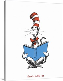The Cat in the Hat Reading, white - Dr. Seuss Art Collection III