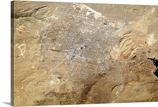Las Vegas, Nevada, with The Strip visible from orbit, and Lake Mead at far right